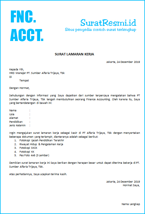 Surat Lamaran Kerja Finance Accounting